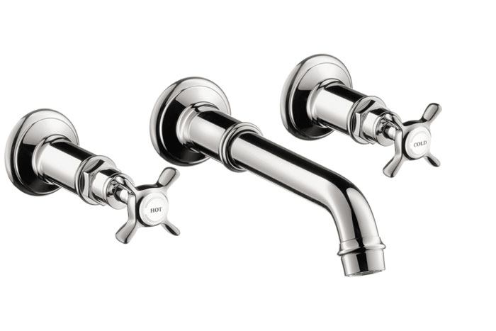 Wall-Mounted Widespread Faucet Trim with Cross Handles