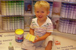 Children mix their own paints just for mother - colours include Pamela Pink, Mums Mix and Valentines Day Violet.
