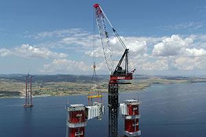 Completion of World Record Lift on Construction of 1915 Çanakkale Bridge