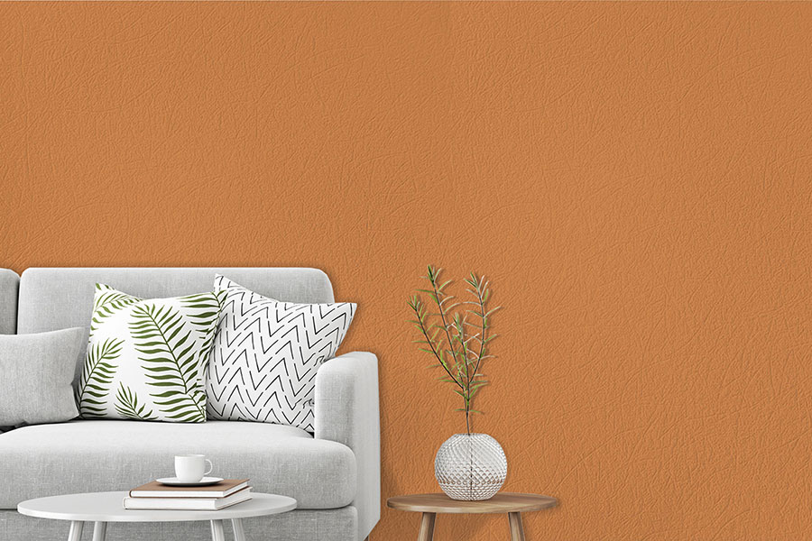 Rumba Orange found in the new Color Theory Collection from DuPont Tedlar Wallcoverings.