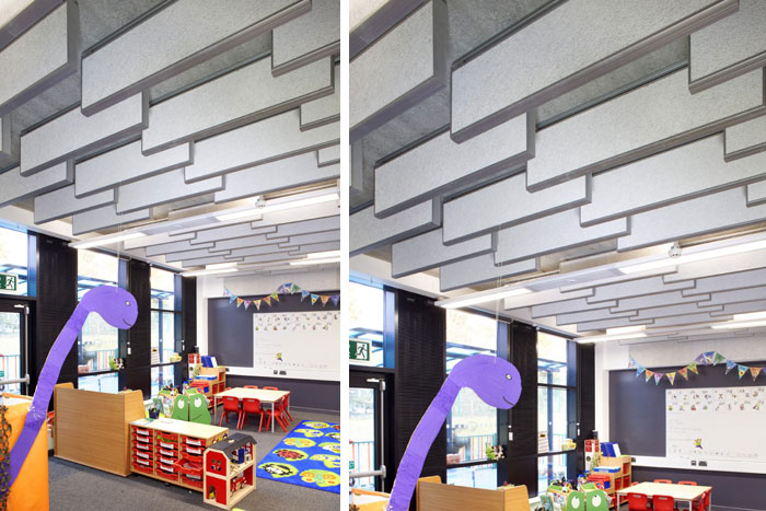 Classroom Acoustic Design ~ Heradesign acoustic panels create unique interiors in kent