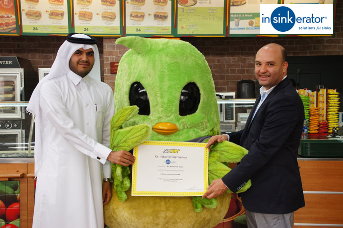 InSinkErator lauded for major role played in Subway in Qatar