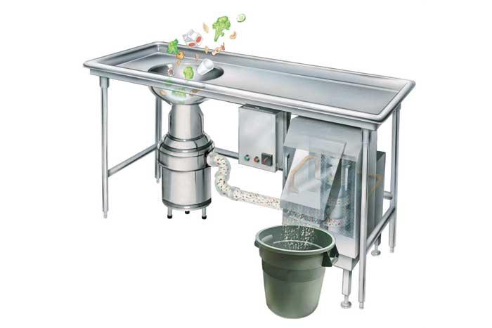 InSinkErator의 폐기물 익스프레스 음식물 쓰레기 디스 포저 시스템은 상업용 주방 85 %까지 대량 폐기물 볼륨을 줄입니다.