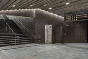 Laminam Oxide Moro coats the interiors of the Takaosanguchi Railway Station designed by Kengo Kuma in Tokyo