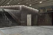 Laminam Oxide Moro coats the interiors of the Takaosanguchi Railway Station designed by Kengo Kuma in Tokyo