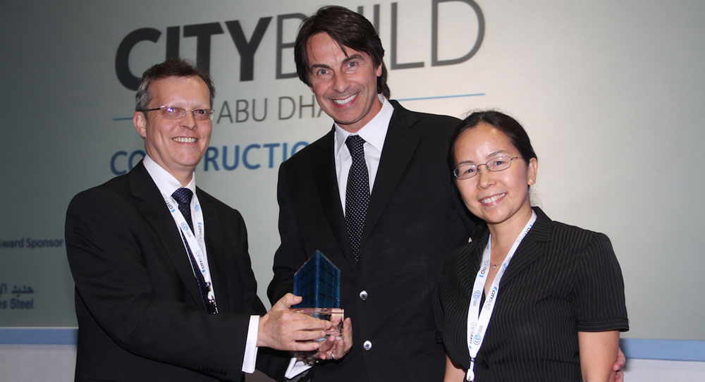 Unibeton General Manager, Dr. Jean Francois Trothier and Dr. Huiqing He, Unibeton's  Asst Operations Director were at the CityBuild Abu Dhabi Awards to accept an Innovation award.
