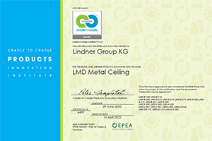 Lindner Metal Ceilings are Cradle to Cradle Certified