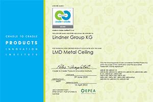 Lindner Metal Ceilings are Cradle to Cradle Certified