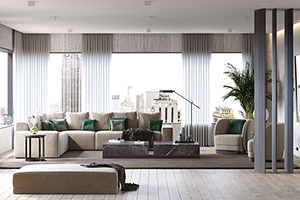 Monoce Living Room - Marble Coffee Tables and Upholstered Armchairs