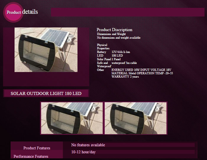 Landscape Lighting System (Flood Light-180 LED)