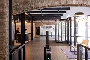 Revolving Door and Turnstiles Upgrade Entrance of Riverside London Workspace