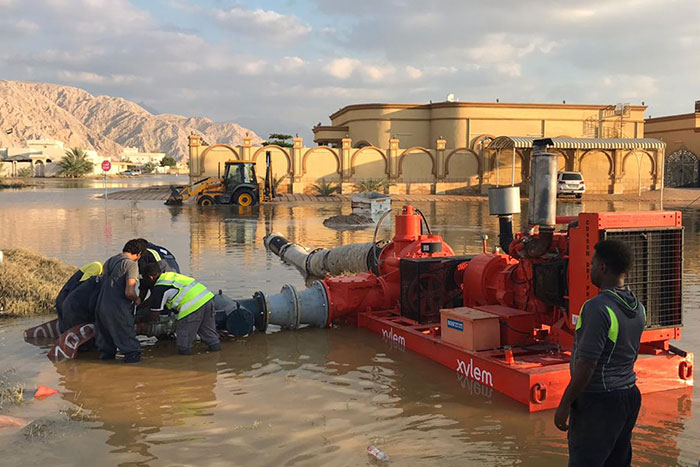 Pictured is Xylem's dedicated team of technicians, who worked round the clock for four consecutive days to assist authorities in pumping out rainwater from the residential district of Al Rams in Ras Al Khaimah, following unprecedented water flooding in the UAE last week.